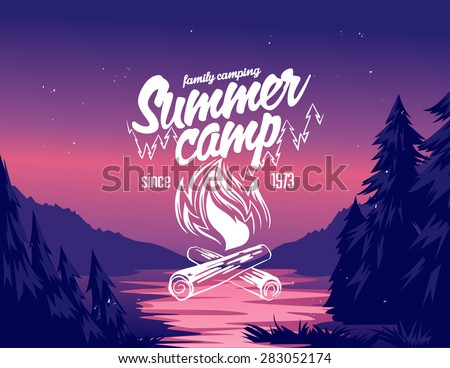 Summer camp typography design on vector valley