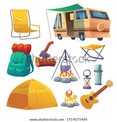 Summer camp with tent, bonfire, backpack and van. Equipment for travel, hiking and activity vacation. Vector cartoon set of campfire with bowler, guitar, chair and lantern isolated on white background