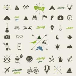Summer camping  icon set