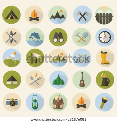summer camping icons set