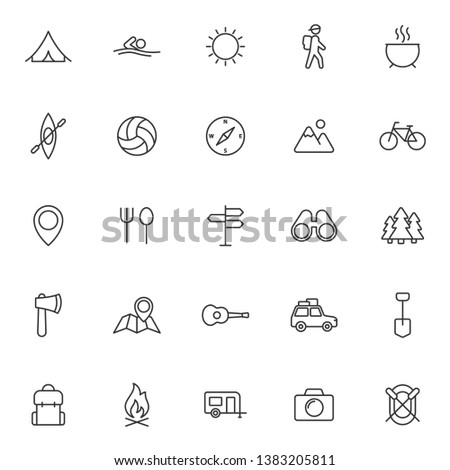 summer camping outline vector icons set isolated on white background. camping outline flat icons for web and ui design. summer camping recreation concept