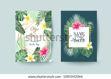 Summer card design. Save the date. Exotic tropic palm leaves and flowers. Invitation, poster, cover template.