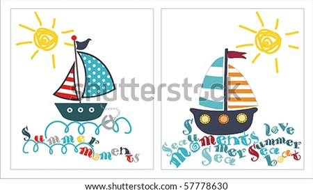 Summer Card Print With Boat