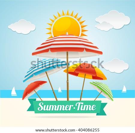 summer card with beach umbrella
