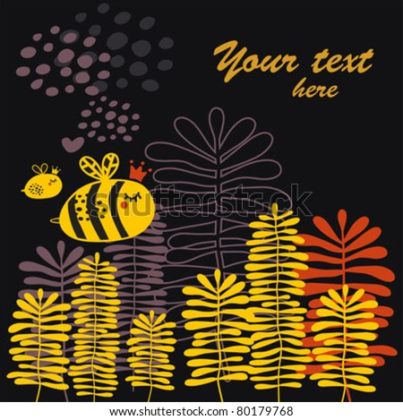 Summer card with bee and heart. Vector doodle background.