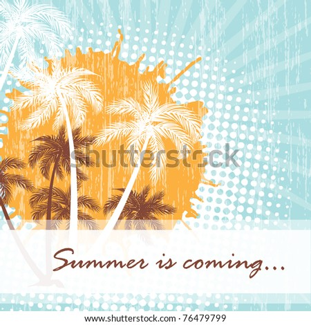 Summer card with grunge dots and palms