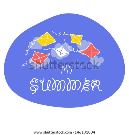 Summer card with kite and sky in vector.