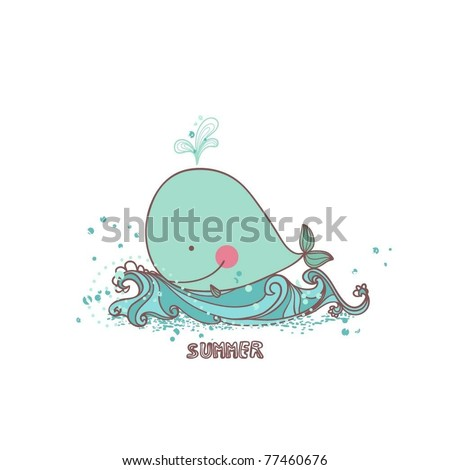 summer card with little whale
