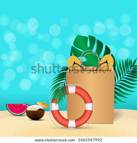 Summer card with realistic colorful summer elements for mobile and social media banner, poster, shopping ads, marketing material with empty space for your text. Ad concept. Vector illustration