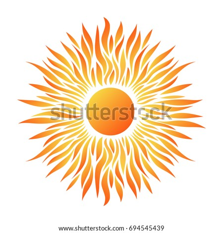Summer Card with Sun on a White Background. Vector Illustration. Flat Style. Sunrise and Sunset. Decorative Summer Design. Cards, Posters, Banners