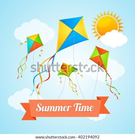 summer card witha flying kites