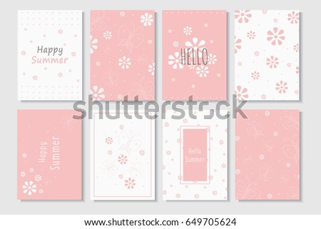 summer cards template in pink