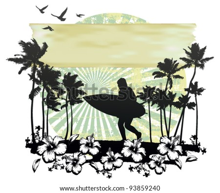 summer circle scene with hibiscus surfer running and palms