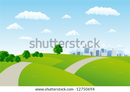 Summer cityscape - stock vector