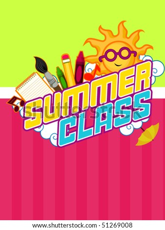 Summer Class Flyer Design - Vector