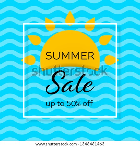 Summer clearance sale vector web banner template. Holiday vacation special offer promotion. Sun and sea waves paper cut. Advertising social media post flat layout. Square frame with text space