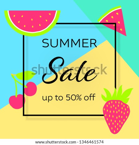 Summer clearance sale web banner template. Fresh berry frame with copyspace. Special offer, discount. Strawberry, cherry, watermelon vector border with headlines. Advertising social media post design
