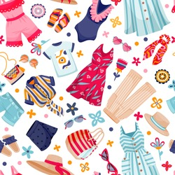 Summer clothes collection vector seamless pattern. Femininity color fashion apparel and accessories on white background. Cartoon style illustration
