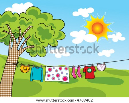 summer clothes hanging on a line (vector) - cartoon illustration
