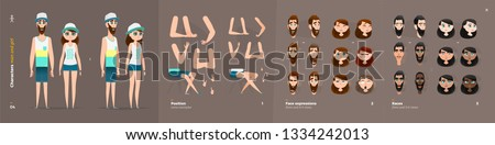 Summer Clothes Style. Guy and Girl Cartoon Characters for Animation. Default Body Parts Poses with Face Emotions. Five Ethnic Styles