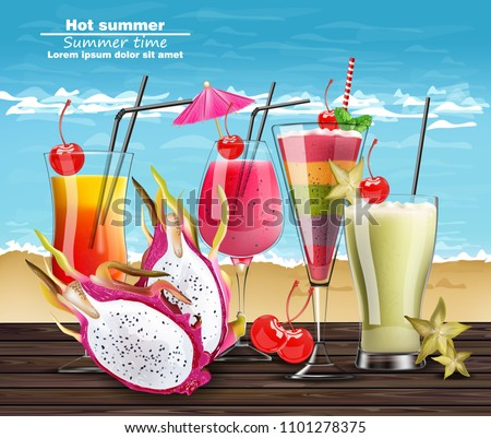 summer cocktail drinks vector