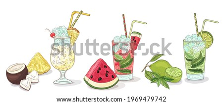 Summer cocktails. Cocktail Tropical fruit collection. Freshness drinks set. Watermelon, coconut, pineapple, lime, mint. Summer cocktails party, pina colada, mojito, watermelon juice. Cocktail vector.