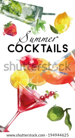 summer cocktails vector