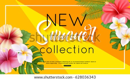 Summer collection banner design with tropical flowers and foliage hibiscus, plumeria.  Vector illustration.