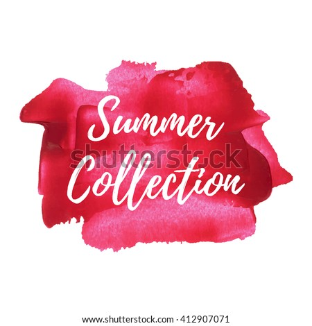 Summer Collection card on pink red painted background vector illustration