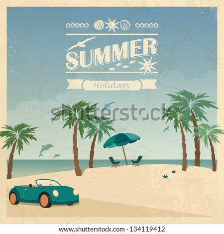 Summer color background in retro style with car and palm trees on the beach.