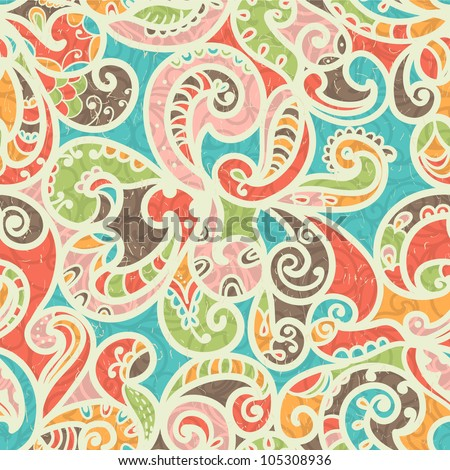 Summer-colored Stylized Abstract Seamless Hand-Drawn Paisley Pattern With Shadows