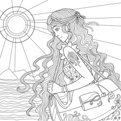 Summer coloring page. Girl with curly long hair goes to the beach. Sunny sea view. Outline illustration for coloring book for adults for art therapy.