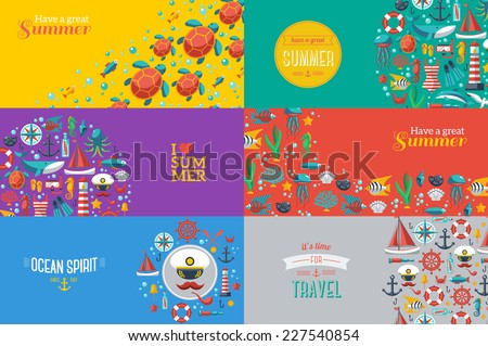 summer concept banners with