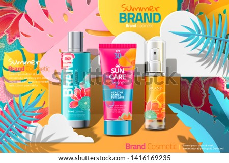 Summer cosmetic skincare ads on colorful paper art tropical forest background, 3d illustration