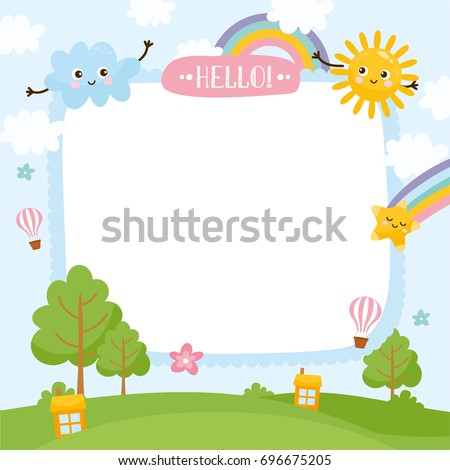 Summer creative frame. Illustration of cute summer background. Template for your text. Nature landscape, rainbow, air balloon.