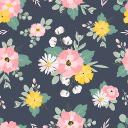 Summer cute hand drawn scandinavian style background seamless pattern with cottage garden flowers, roses, camomiles. Tender farmhouse summer pattern design for fabric, wallpaper, stationery