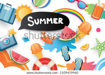 Summer cute symbol icon elements for beach party on white background. Paper art and craft style. Use for labels, stickers, badges, illustration design.