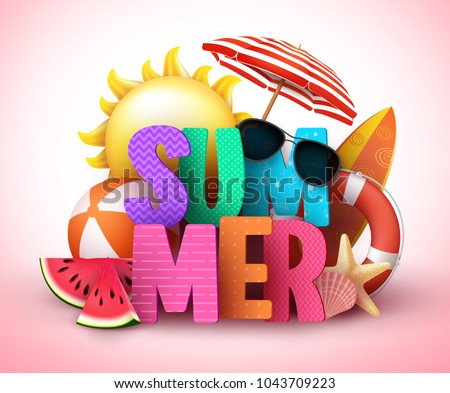 Summer 3d text vector banner design with colorful title and realistic tropical beach elements in a background for summer holiday season. Vector illustration.