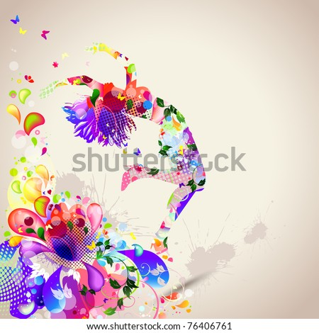 Summer dance - stock vector