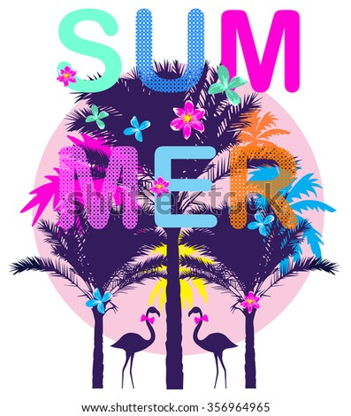 summer day background with palm