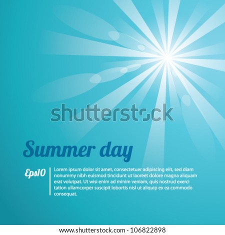 Summer Day Blue Background Vector