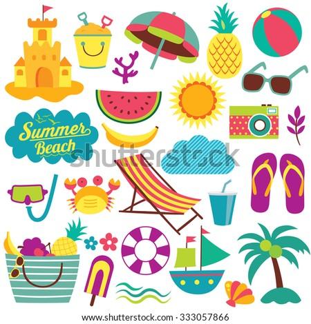 summer day elements clip art set