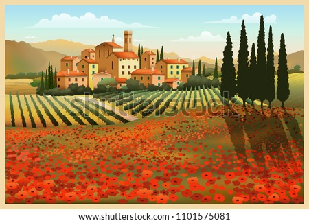 Summer Day in Tuscany, Italy. Handmade drawing vector illustration.