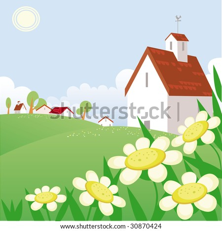 Summer day landscape with beautiful  house and chamomile