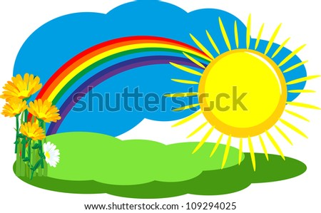 summer day, the nature of the rainbow in the sky and the sun