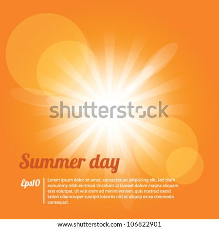 Summer Day Yellow Background Vector