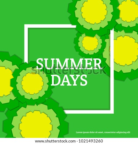 Summer Days Postcard with Paper Flowers. Floral Greeting Card. Paper cut design template. Vector illustration.