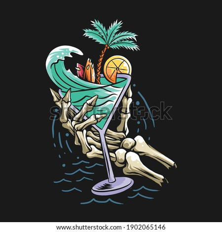 summer design concept beach skull hand holding a glass filled with sea waves, coconut trees and a surf board. vector artwork Photo stock ©
