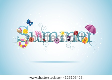 Summer Design Element with Flowers and Insects