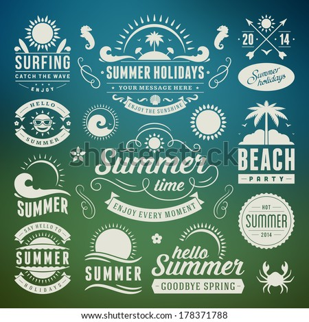 Summer design elements and typography design. Retro and vintage templates. Flourishes calligraphic ornaments, labels, badges, cards. Vector set.